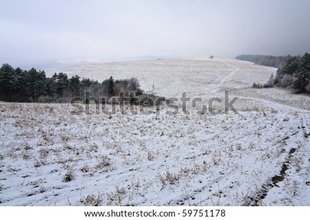 Snow covered fields - stock photo