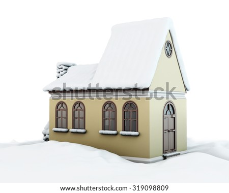 Snow-covered house on white background. 3d render image. - stock photo