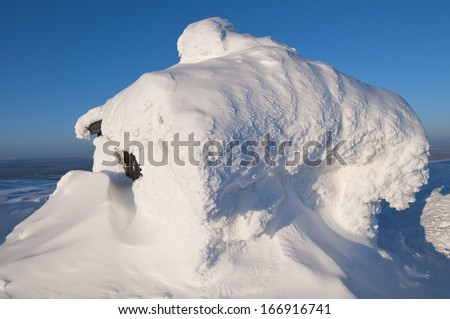 Snow-covered Hut, Mountain Dundret, Gaellivare, Norrbotten, Lapland, Sweden