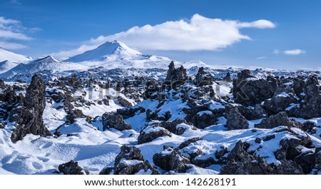 Snow covered lava fields on the Snaefellsnes peninsula in Iceland.