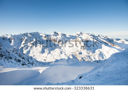 Snow Covered Mountain Range At Solden In Oetztal Alps; Tirol; Austria - stock photo