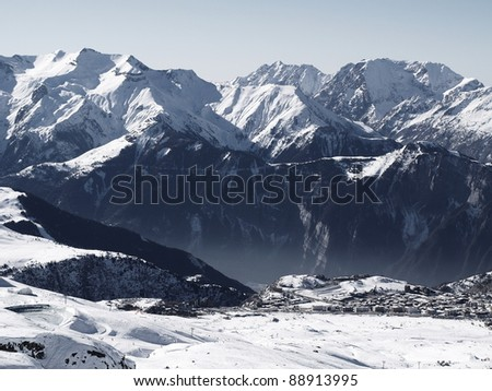 Snow covered mountains - stock photo