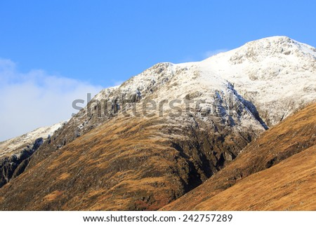 Snow covered mountains, Glencoe, Scotland - stock photo