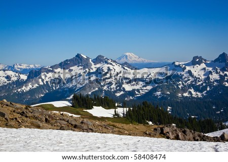 Snow Covered Mountains in the Pacific Northwest part of the United States. - stock photo