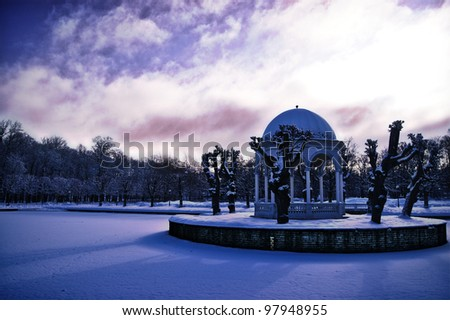 Snow covered park in Tallin - stock photo