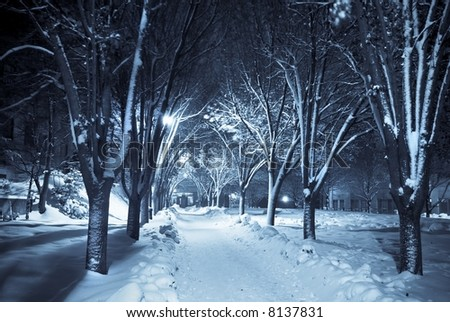 Snow covered path lit by street lights - stock photo