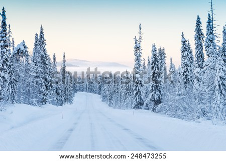 Snow covered road and mist in the valley at Finland - stock photo