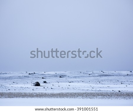 Snow covered sandur, Southern Iceland - stock photo