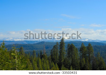 Snow covered Sierra Nevada mountains as viewed across miles of open forest. Behind these mountains is Lake Tahoe