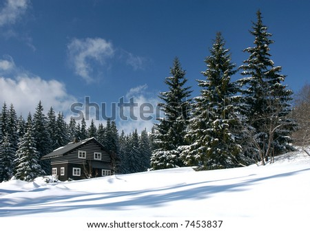 Snow-covered ski resort house in the snow-covered firry forest in the Czech mountains - stock photo