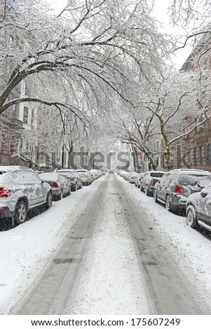 Snow Covered Street during Snowstorm in Manhattan, New York City - stock photo