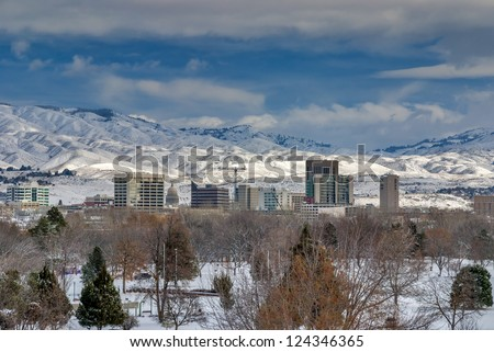 Snow covered town of Boise Idaho - stock photo