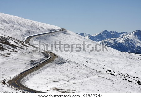Snow Covered Trail Ridge Road, Rocky Mountain National Park - stock photo