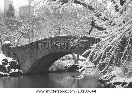 Snow covered trees surround a stone bridge over a pond in Central Park