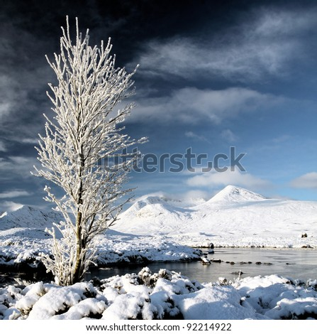 Snow covered winter mountain landscape - stock photo