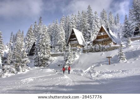 Snow covered winter ski center Babanovac on Vlasic mountain, Republika srpska, Bosnia - stock photo