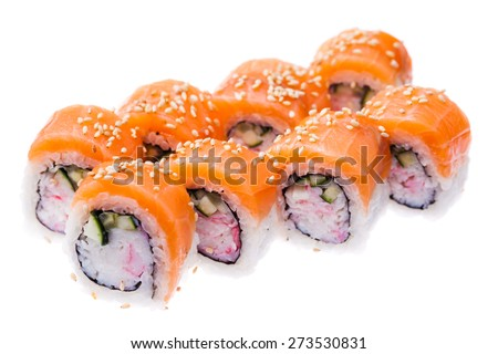 Snow crab, salmon, cream cheese and cucumber rolls isolated on white background - stock photo