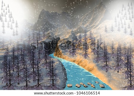 Snow, 3D rendering, a winter landscape, coniferous trees in the rocky mountains, a beautiful river and a misty sky.