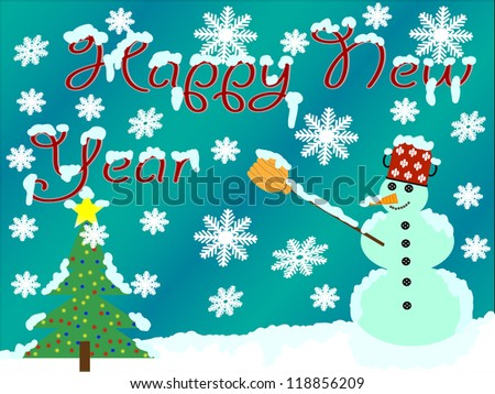 Snow day with a snowman and Christmas tree/Happy new year - stock photo