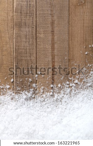Snow drift on Wood Boards with Blank Space or Room for Copy, Text, or your Words.  Vertical with warm tones - stock photo