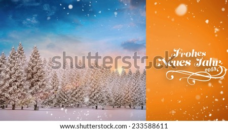 Snow falling against fir tree forest in snowy landscape - stock photo