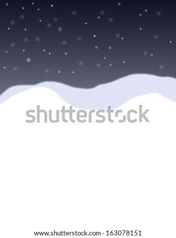 Snow falling on a blue black background with white snowbanks in the foreground  - stock photo