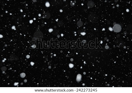 Snow falling on dark winter night. Abstract snowflakes background blur.