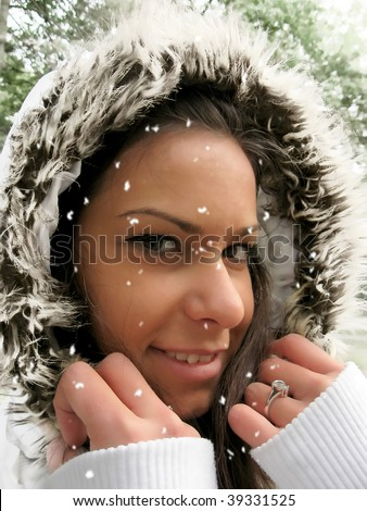Snow falling over the face - stock photo