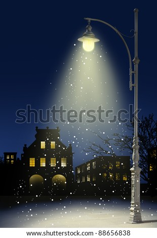 snow falls in the city at night - stock photo