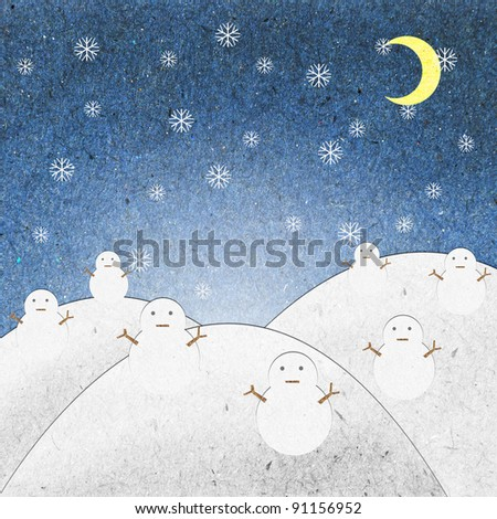 Snow field night with snowman recycle paper craft for background - stock photo