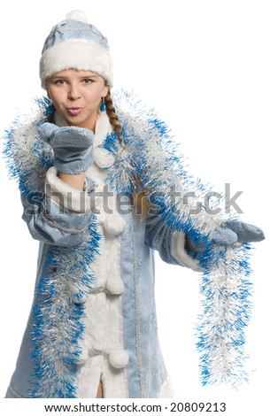 snow girl looks at the camera and sends air kiss, isolated on white