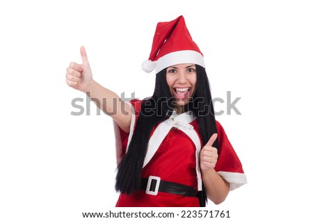 Snow girl santa in christmas concept isolated on white - stock photo