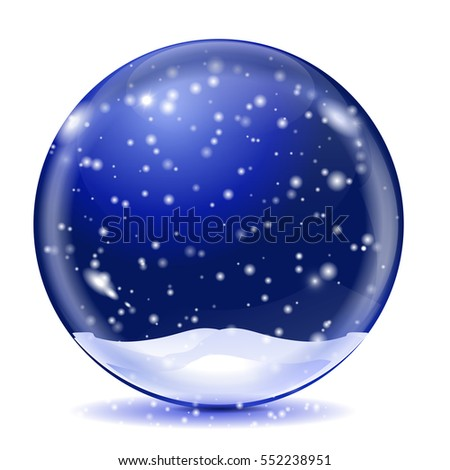 Snow glass globe. Blue sphere with white snowflakes. 3d illustration isolated on white background. Raster version.
