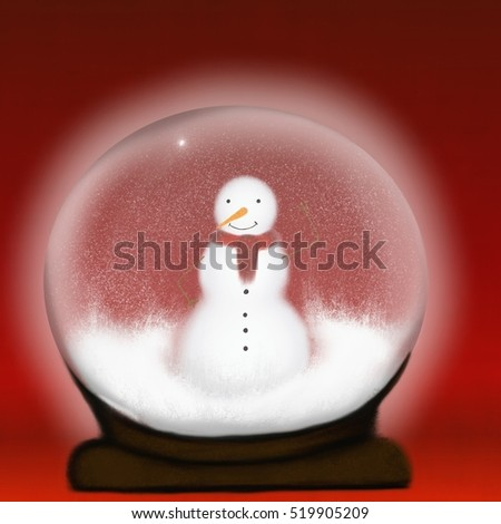 Snow glass with snowman