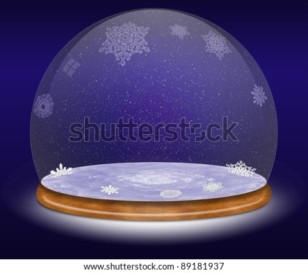 Snow globe against a blue background - stock photo