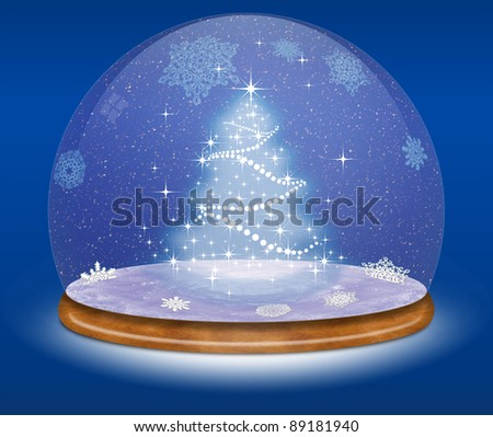 Snow globe and Christmas tree against a blue background - stock photo