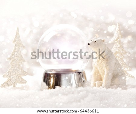 Snow globe in  winter scene - stock photo