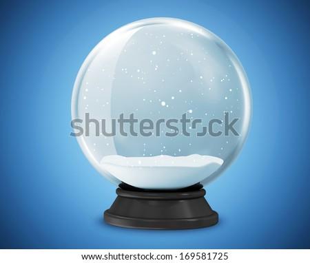 Snow Globe on blue background - stock photo