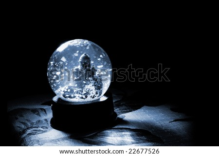 snow globe with a town - stock photo
