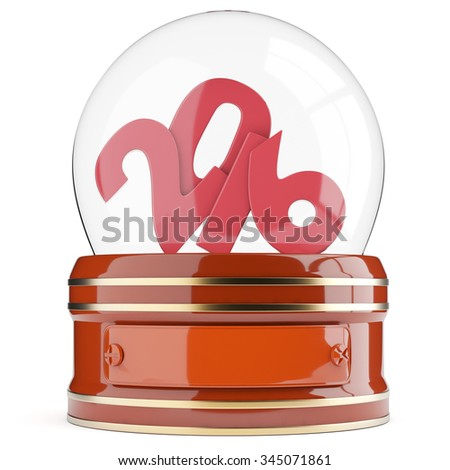 Snow globe with 2016 digits isolated on white background. 3d render - stock photo