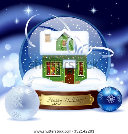 Snow globe with green wooden christmas house with decorations against a blue snow storm background. Christmas and New Year greeting card - stock photo