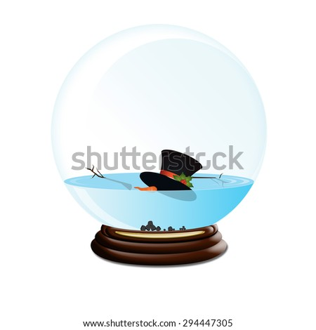 Snow Globe with melted snowman, isolated white - stock photo