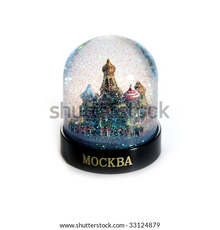 Snow-globe with Moscow St.Basil cathedral, isolated on white - stock photo