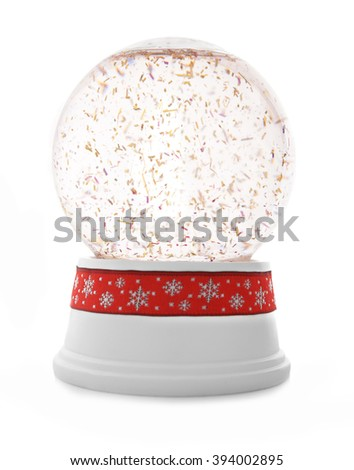 Snow globe with red ribbon isolated on white