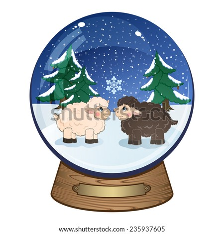 Snow globe with small cute sheep, isolated on white background - stock photo