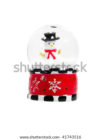 Snow globe with snowman isolated over white background - stock photo
