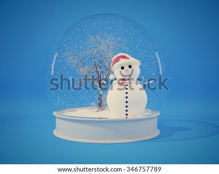 Snow globe with snowman on a blue background - stock photo