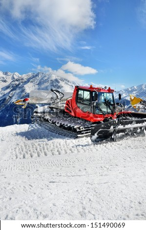Snow groomer in Otztal Alps in Austria near Solden ski resort