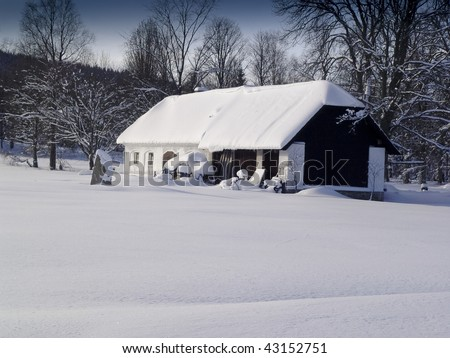 snow house country rustic old - stock photo