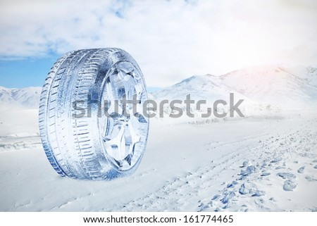 Snow Ice Tire concept  - stock photo